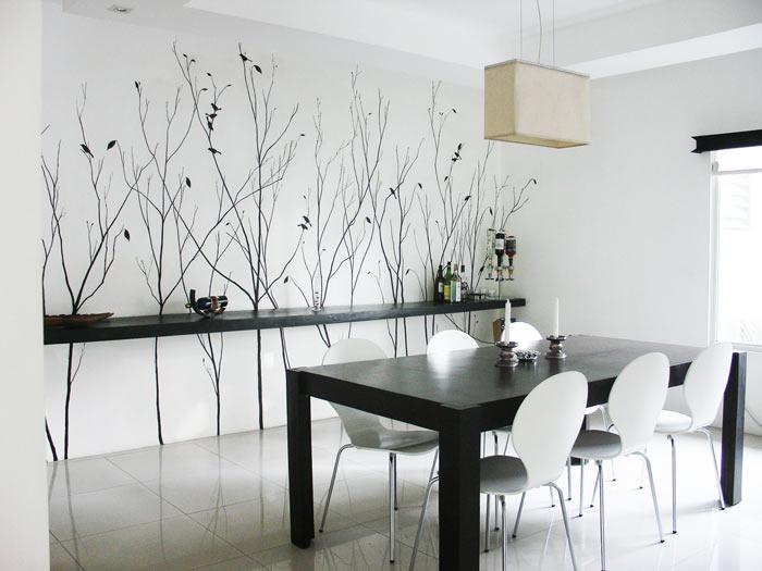 sala jantar preto branco