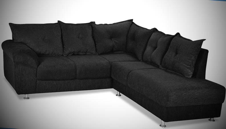 sofa de canto de tecido preto