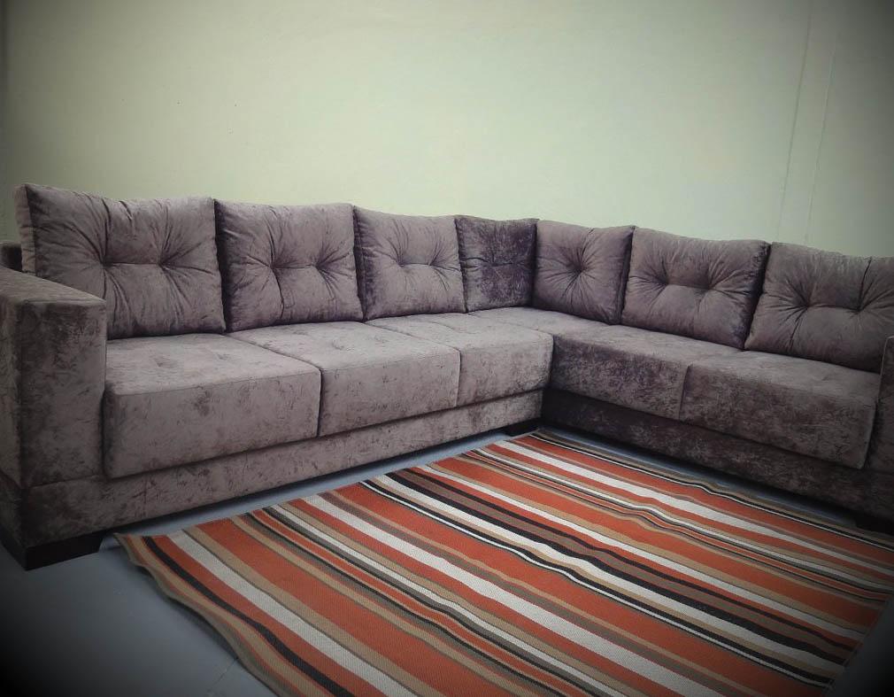sofa de canto tecido veludo
