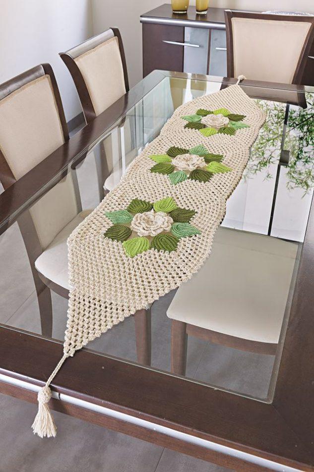 toalha de mesa de croche flores