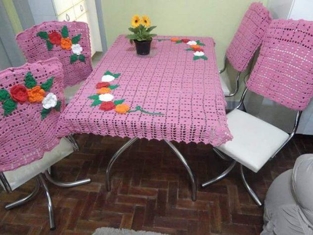 toalha de mesa de croche quadrada