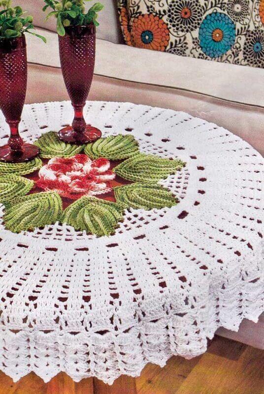 toalha de mesa de croche redonda 2