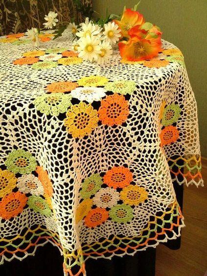 toalha de mesa de croche redonda 4