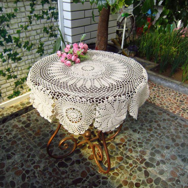 toalha de mesa de croche redonda