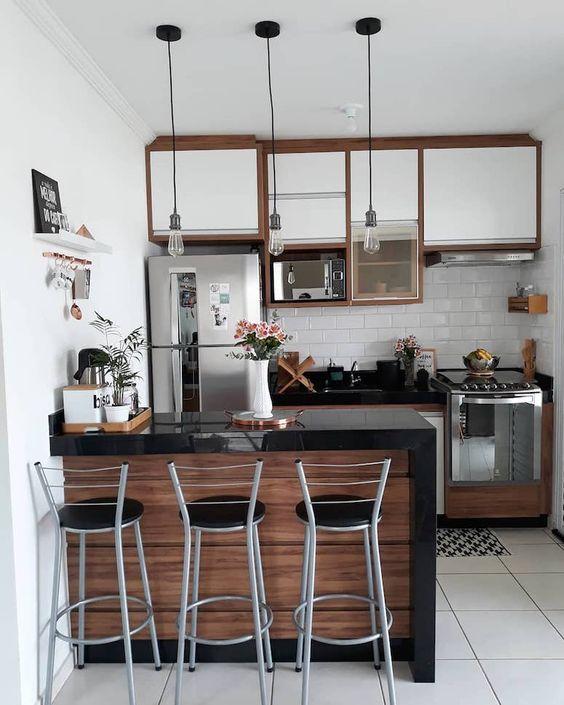 truques cozinhas pequenas iluminacao suspensa