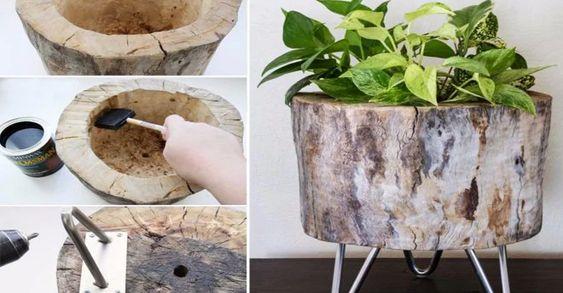 vasos criativos com tocos de madeira 11