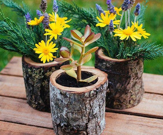 vasos criativos com tocos de madeira 12