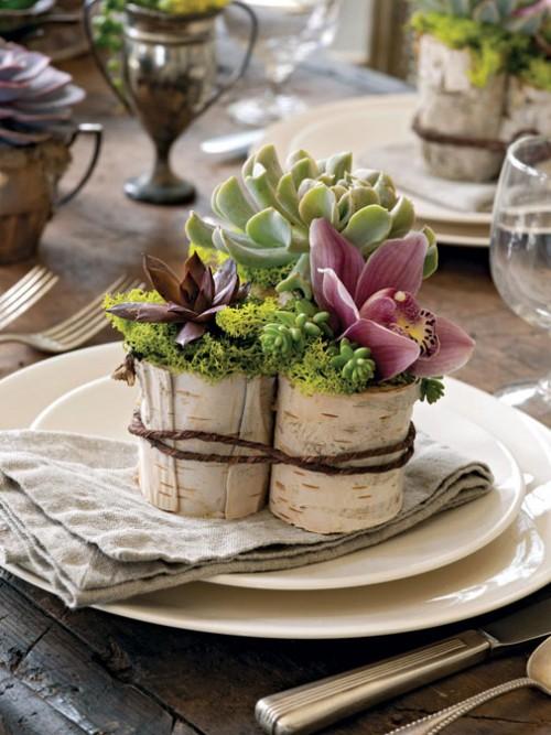vasos criativos com tocos de madeira 5