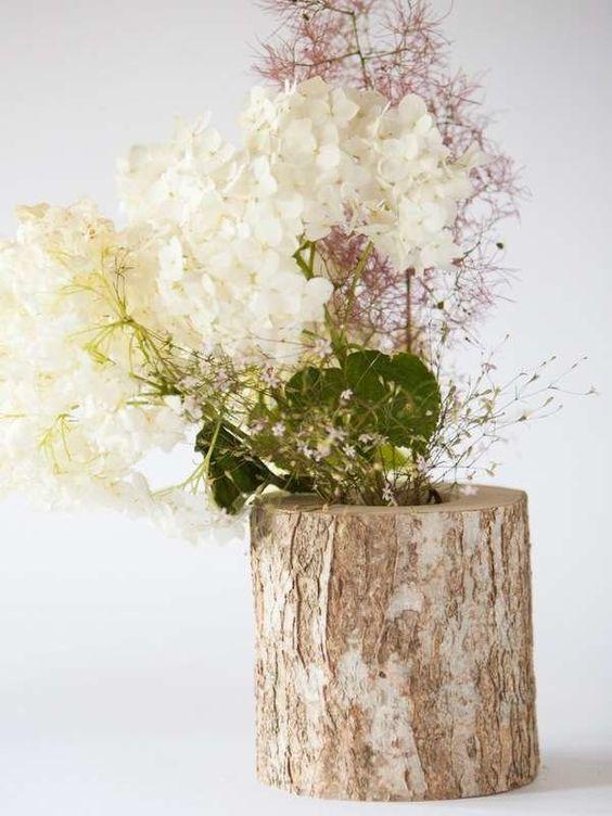 vasos criativos com tocos de madeira 7