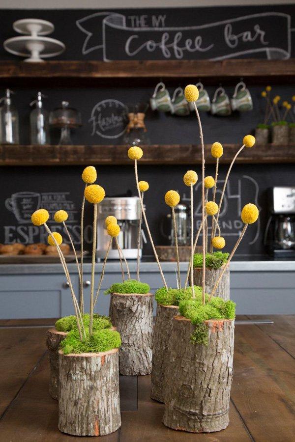vasos criativos com tocos de madeira