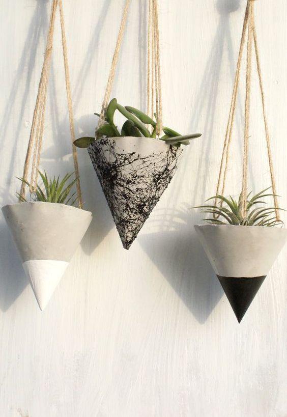 vasos de cimento criativos